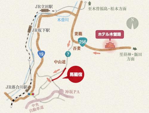 ホテル木曽路から馬籠宿の地図