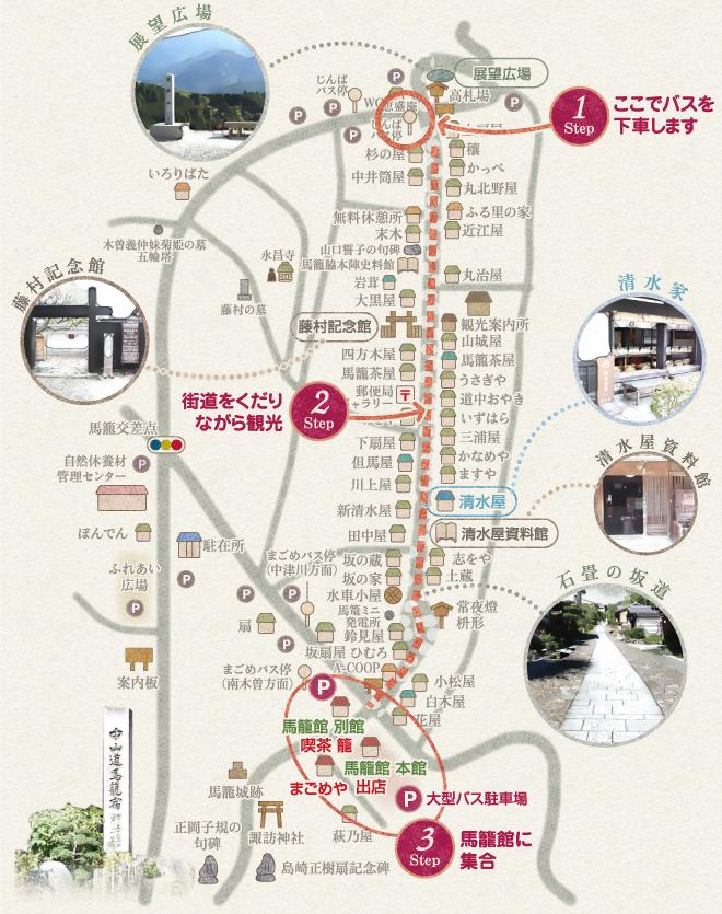 馬籠宿コース地図