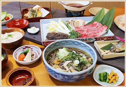 牛鍋山菜そば御膳・岩魚塩焼き版
