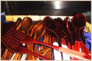 国産溜塗菓子ナイフ、フォーク、スプーン